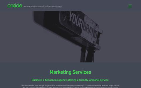 Screenshot of Services Page onsidecreative.co.uk - Marketing Services available from Onside Creative - captured Oct. 18, 2018