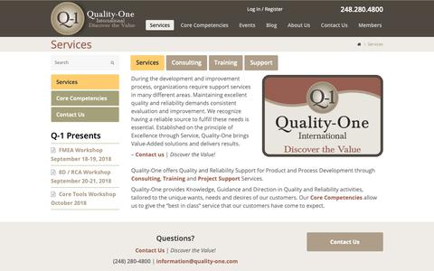 Screenshot of Services Page quality-one.com - Services | Quality and Reliability Support Services | Quality-One - captured Sept. 28, 2018