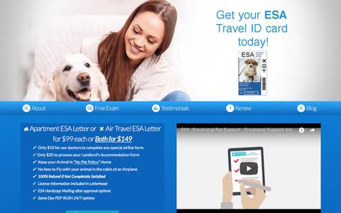 Screenshot of Home Page emotionalpetsupport.com - Emotional Pet Support: Emotional Support Animal Letter Online - $99 - captured July 9, 2018