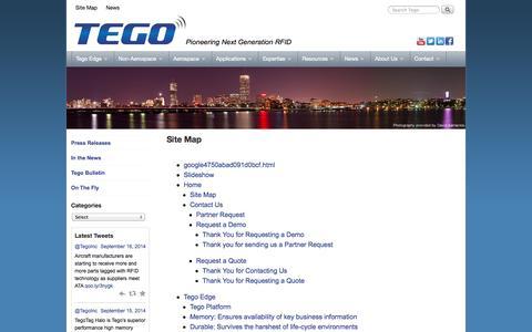 Screenshot of Site Map Page tegoinc.com - Site Map - Tego, Inc. - captured Sept. 17, 2014
