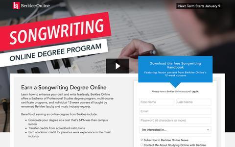 Screenshot of Landing Page berklee.edu - Earn a Degree Online with Berklee - captured Nov. 11, 2016
