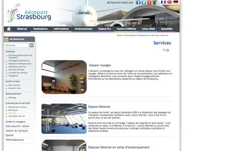 Screenshot of Services Page strasbourg.aeroport.fr - Informations : Services - Aéroport de Strasbourg - captured Nov. 5, 2014