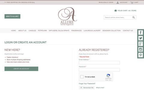 Screenshot of Login Page allurehomefragrance.com - Customer Login - captured May 29, 2017
