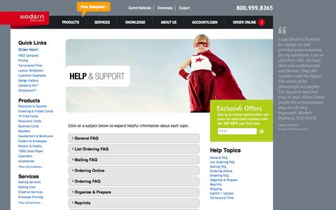 Screenshot of Support Page modernpostcard.com - Help Center - Print & Mail Services | Postcard Printing | Direct Mail Marketing & High Quality Printing - captured Sept. 23, 2014