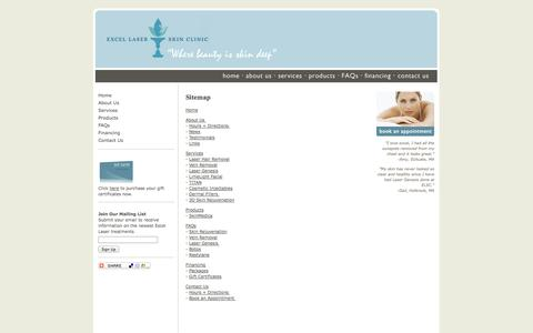 Screenshot of Site Map Page excellaserskinclinic.com - Excel Laser Skin Clinic - Contact Us - captured Oct. 7, 2014