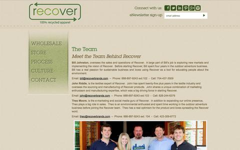 Screenshot of Team Page recoverbrands.com - Meet the Recover Brands Team | Recycled Eco Friendly Apparel Recover - captured Nov. 5, 2014