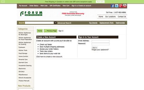 Screenshot of Login Page forumappliances.com - Forum Home Appliances - Sign in - captured Oct. 6, 2014