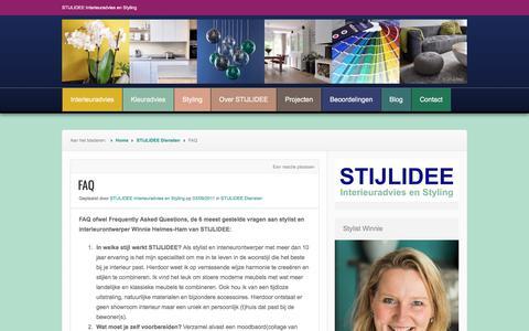 Screenshot of FAQ Page stijlidee.nl - FAQ - captured Nov. 11, 2017