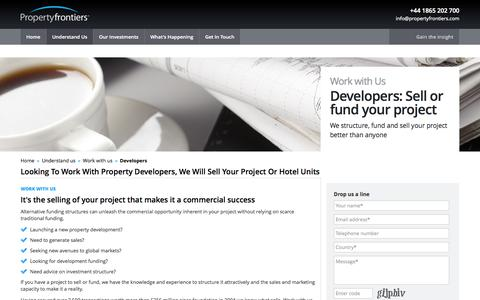 Screenshot of Developers Page propertyfrontiers.com - Property Developer | Sell Your Project | Sell Hotel Units - captured Sept. 24, 2014