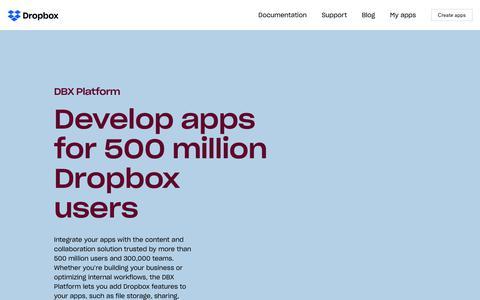 Screenshot of Developers Page dropbox.com - Developers - Dropbox - captured July 14, 2018
