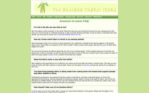 Screenshot of FAQ Page bamboofabricstore.com - Bamboo Fabric Store - captured Sept. 30, 2014