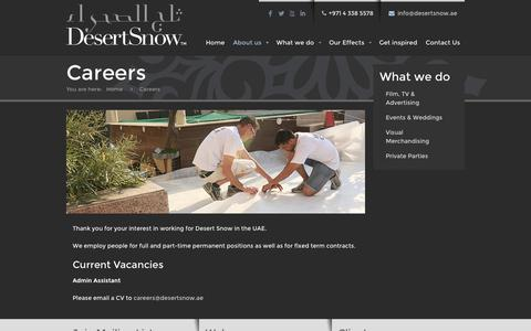 Screenshot of Jobs Page desertsnow.ae - Careers - Desert Snow Special Effects Production LLC - captured Sept. 30, 2014