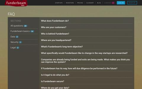 Screenshot of FAQ Page funderbeam.com - Funderbeam - captured Oct. 29, 2014