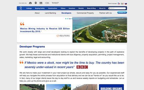 Screenshot of Developers Page investmentpropertiesmexico.com - Developer Programs - Investment Property - Investment Properties Mexico - captured Sept. 24, 2014