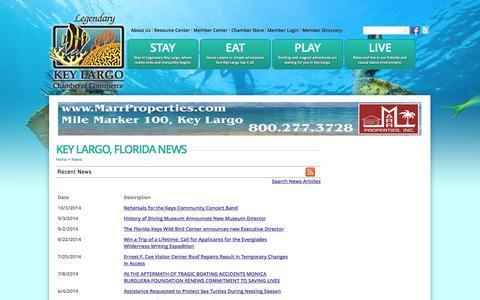 Screenshot of Press Page keylargochamber.org - Key Largo, Florida  News | Key Largo, Florida | Key Largo Chamber of Commerce | Key Largo, FL - captured Oct. 6, 2014