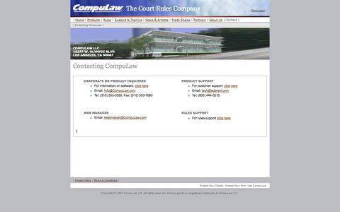 Screenshot of Contact Page compulaw.com - CompuLaw -- legal calendar software with court rules - captured Sept. 30, 2014