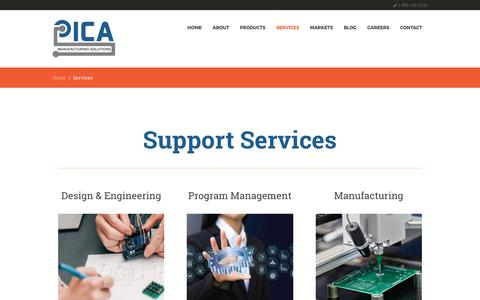 Screenshot of Services Page picamfg.com - Flexible Circuitry - Services - PICA Manufacturing Solutions - captured July 10, 2017