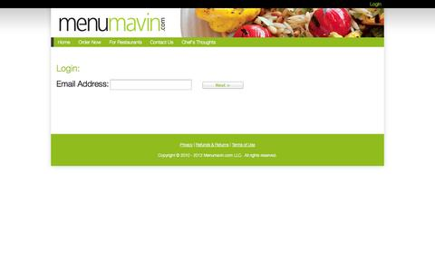 Screenshot of Login Page menumavin.com - Menu Mavin : Your Virtual Food Court - captured Oct. 27, 2014