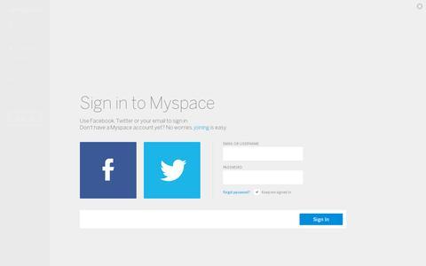 Screenshot of Login Page myspace.com - Myspace - captured July 19, 2014