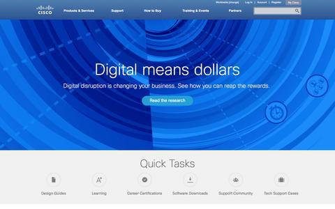 Screenshot of Home Page cisco.com - Cisco Systems, Inc - captured Dec. 24, 2015