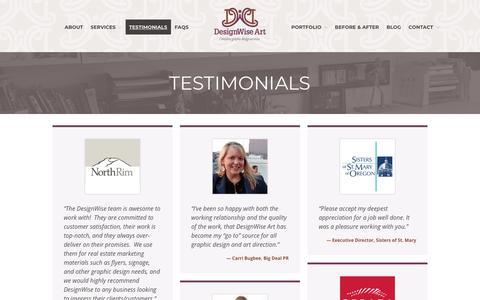 Screenshot of Testimonials Page designwiseart.com - Graphic Design Studio Portland Oregon - DesignWise Art - captured Nov. 6, 2018