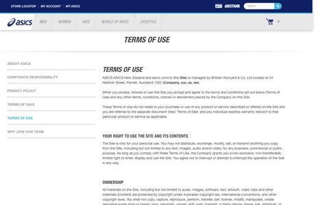 Screenshot of Terms Page asics.com - Terms of Use | ASICS New Zealand - captured Jan. 6, 2017