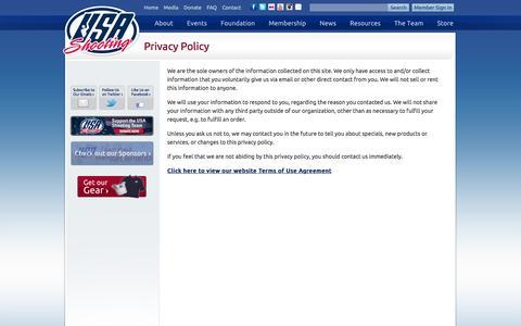 Screenshot of Privacy Page usashooting.org - Privacy Policy | USA Shooting - captured Sept. 30, 2014