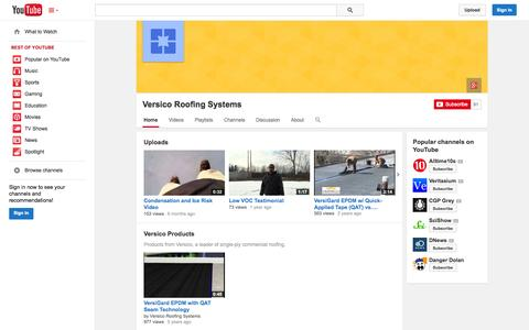 Screenshot of YouTube Page youtube.com - Versico Roofing Systems  - YouTube - captured Oct. 26, 2014