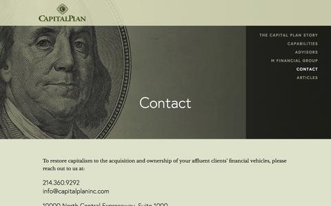 Screenshot of Contact Page capitalplan.com - Contact Ń Capital Plan - captured Dec. 7, 2015