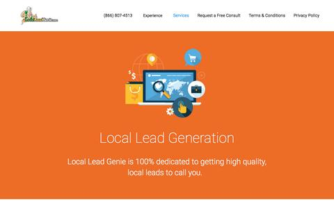 Screenshot of Services Page localleadgenie.com - Fresh, Exclusive Local Lead Generation by Vin Curto - captured Nov. 12, 2016