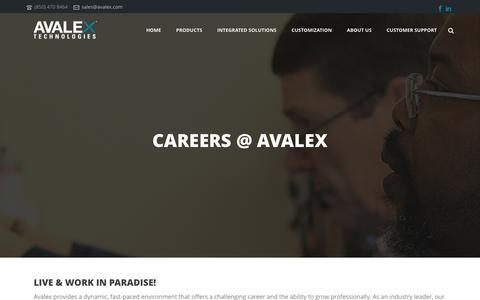 Screenshot of Jobs Page avalex.com - Careers - Avalex Technologies - captured Dec. 27, 2015