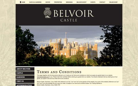 Screenshot of Terms Page belvoircastle.com - Terms - Belvoir Castle - captured Oct. 6, 2014