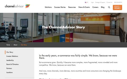 Screenshot of About Page channeladvisor.com - Our Story - Channel Advisor - captured May 18, 2017