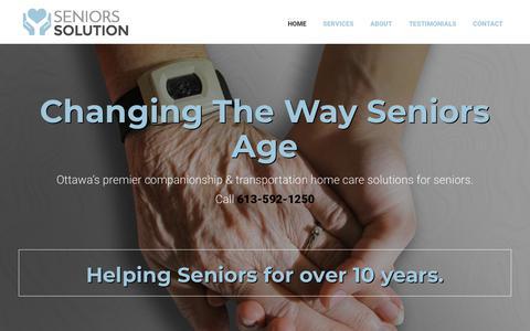 Screenshot of Home Page seniors-solution.com - Home   Seniors Solution   Ottawa, ON - captured Nov. 7, 2018