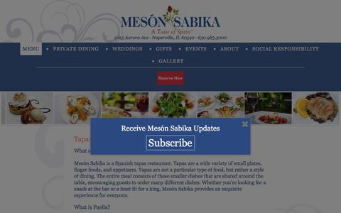 Screenshot of Menu Page mesonsabika.com - Tapas Menus - Mes贸n Sabika - captured Sept. 20, 2018