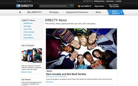 Screenshot of Press Page directv.com - DIRECTV News - captured Sept. 19, 2014