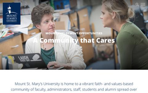 Screenshot of Jobs Page msmary.edu - Mount Employment Opportunities | Mount St. Mary's University - captured Nov. 16, 2018