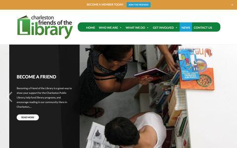Screenshot of Press Page charlestonlibraryfriends.org - NEWS – Charleston Friends of the Library - captured July 25, 2017