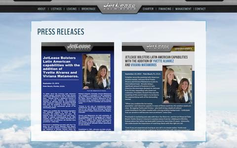 Screenshot of Press Page jetlease.com - JetLease - Palm Beach - captured Oct. 29, 2014