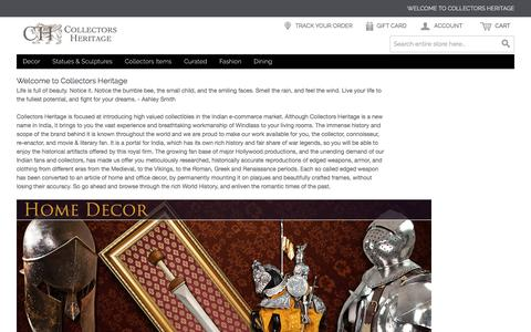 Screenshot of Home Page collectorsheritage.com - Knives, Replica Guns, Home Decor Ideas, Swords & Statues   Collectors Heritage - captured July 15, 2016