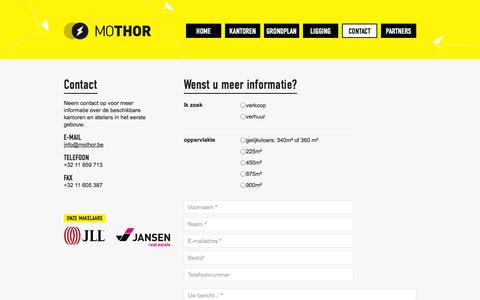 Screenshot of Contact Page mothor.be - Contact     MOTHOR - captured Oct. 26, 2014