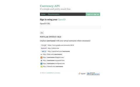 Screenshot of Login Page currency-api.appspot.com - Currency API | Login - captured Oct. 30, 2014