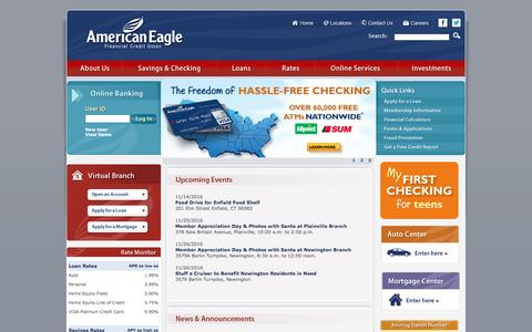 Screenshot of Home Page americaneagle.org - American Eagle Financial Credit Union - Caring, Trust, and Dependability - captured Nov. 20, 2016