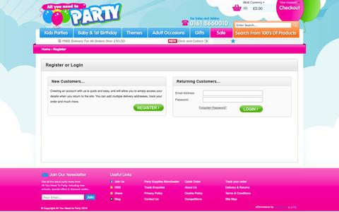 Screenshot of Login Page allyouneedtoparty.co.uk - Party Supplies   Buy Party Supplies, Party Gear   All you need to Party - captured Sept. 30, 2014