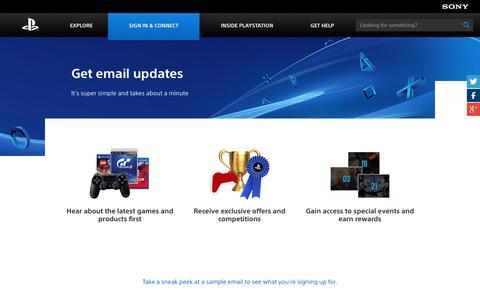 Screenshot of Signup Page playstation.com - PlayStation.com Newsletter Sign Up - captured Sept. 19, 2014