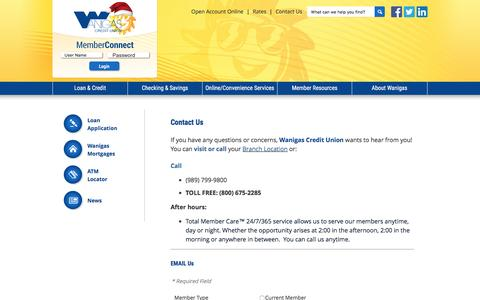 Screenshot of Contact Page wanigas.com - Wanigas Credit Union Contact Information - Wanigas Credit Union - captured Dec. 4, 2016
