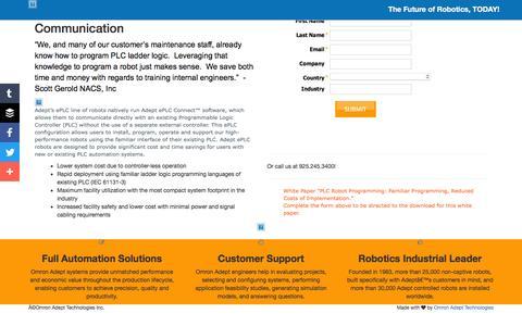 Screenshot of Landing Page adept.com - Omron Adept Technologies - captured June 17, 2016