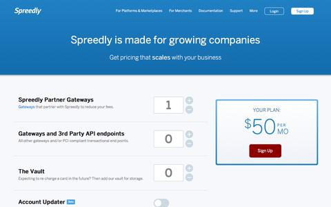 Screenshot of Pricing Page spreedly.com - Spreedly Pricing - captured June 27, 2017