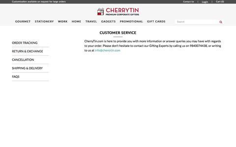 Screenshot of Support Page cherrytin.com - Customer Service - captured May 16, 2017