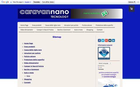 Screenshot of Site Map Page caravannano.com - Sitemap - Lavaggio del camper e pulizia delle righe nere - captured Dec. 14, 2015